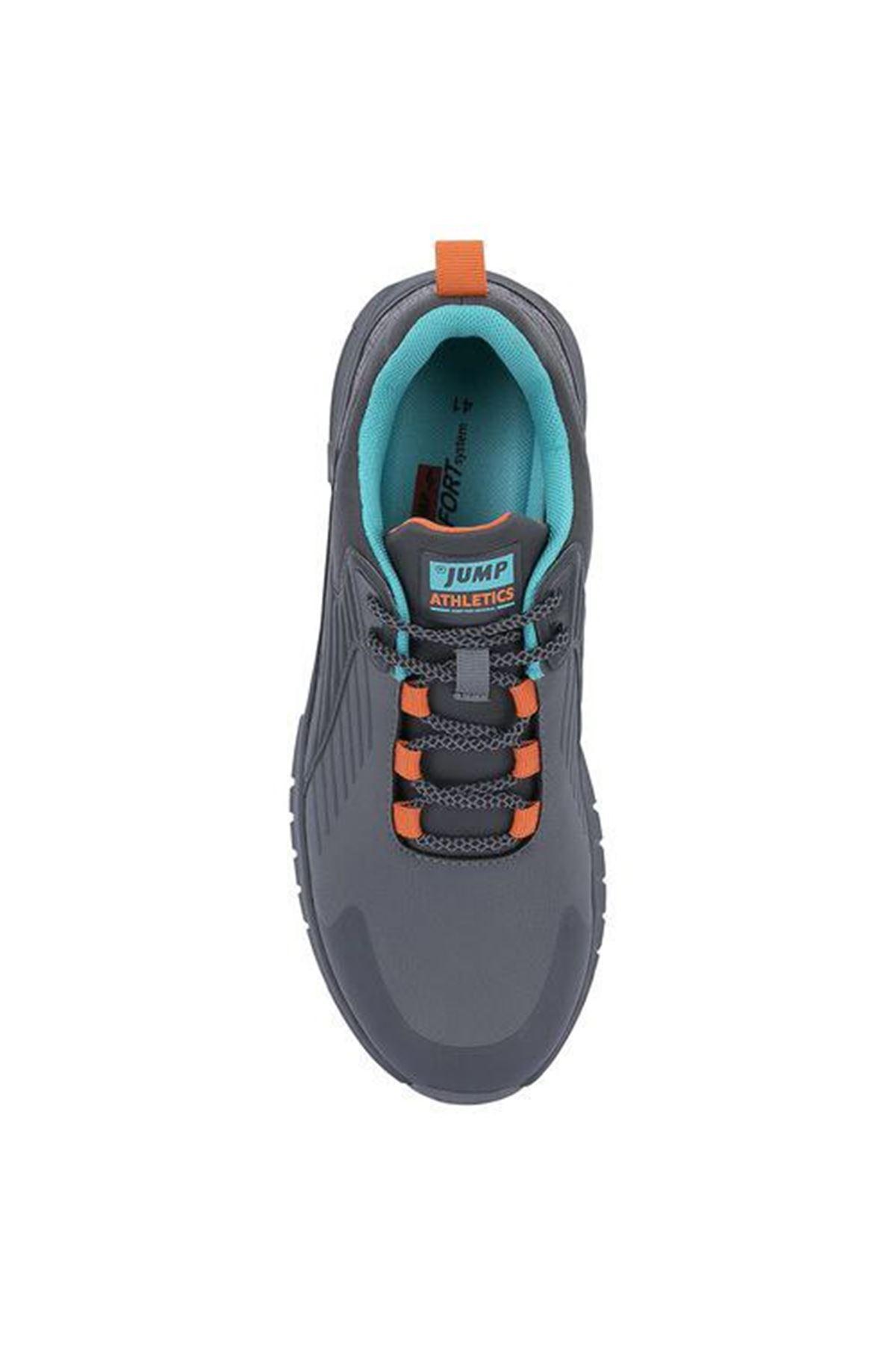 Jump Comport Taban Mavi Detaylı Rahat Erkek Spor Ayakkabı GRİ