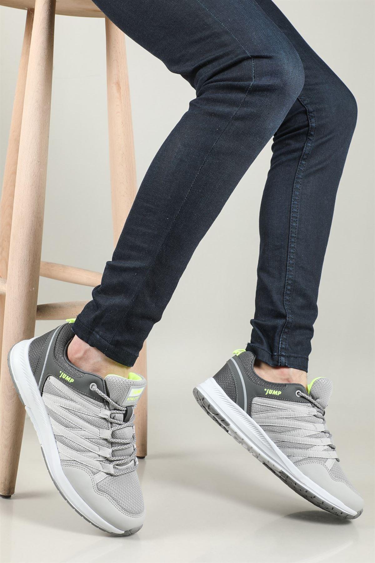 İki Renk Tasarımlı Fileli Rahat Ayakkabı GRİ