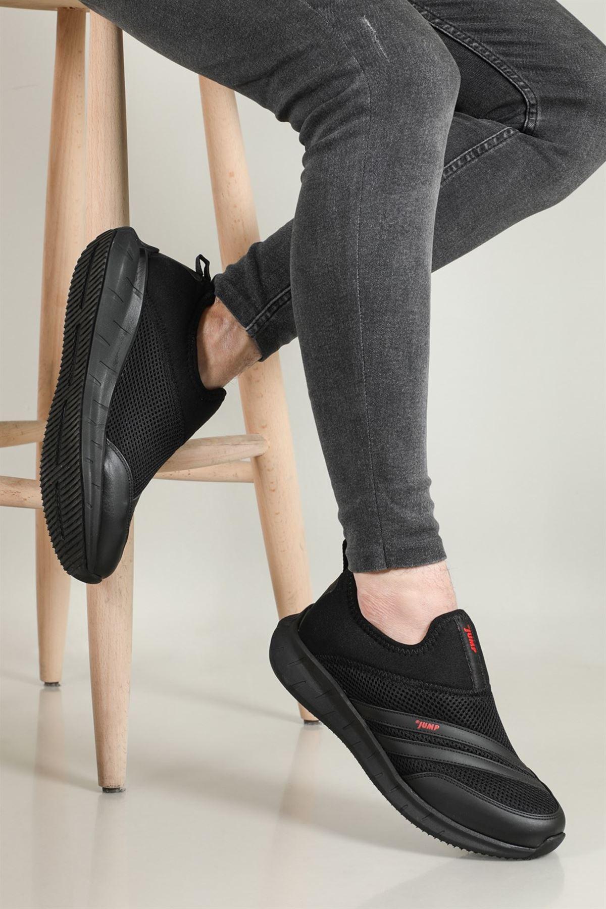 Siyah Bağcıksız Yazlık Fileli Rahat Ayakkabı