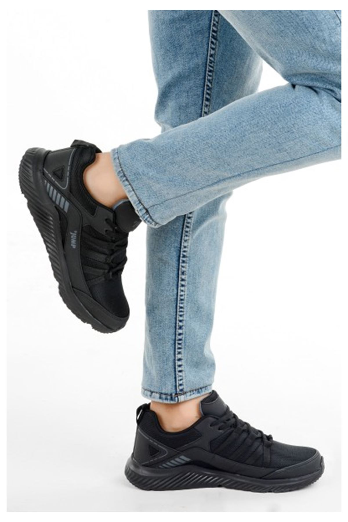 Erkek Spor Ayakkabı Fileli Rahat 24865 FULL SİYAH