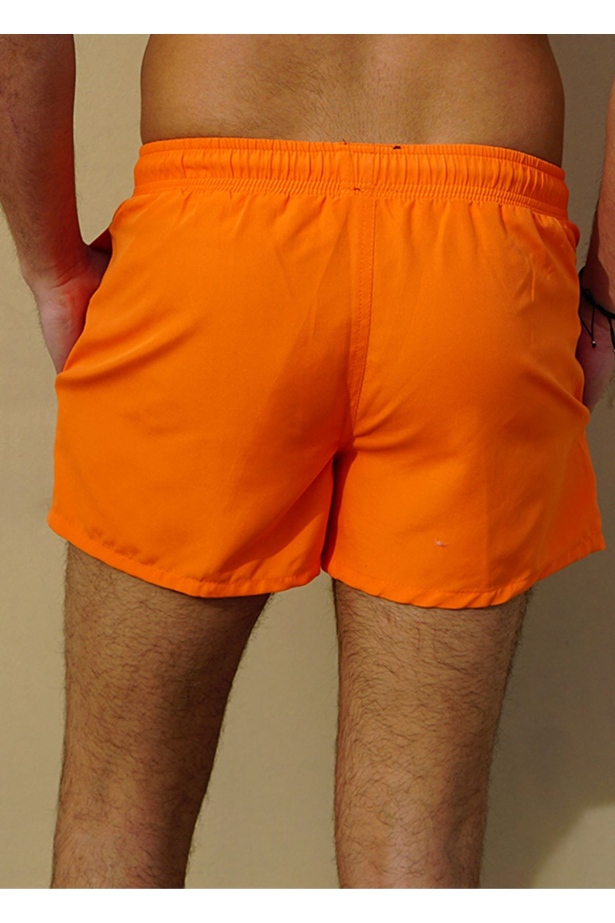 Erkek Deniz Şortu Kısa Slim Model ORANJ